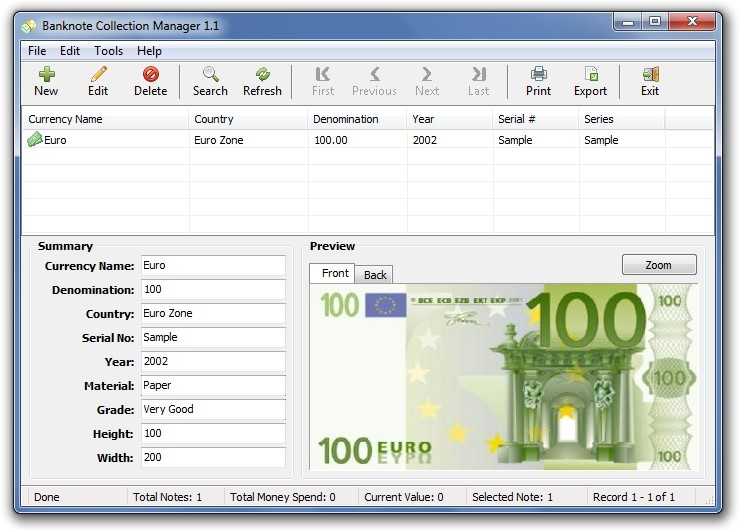 Click to view Banknote Collection Manager 1.1 screenshot