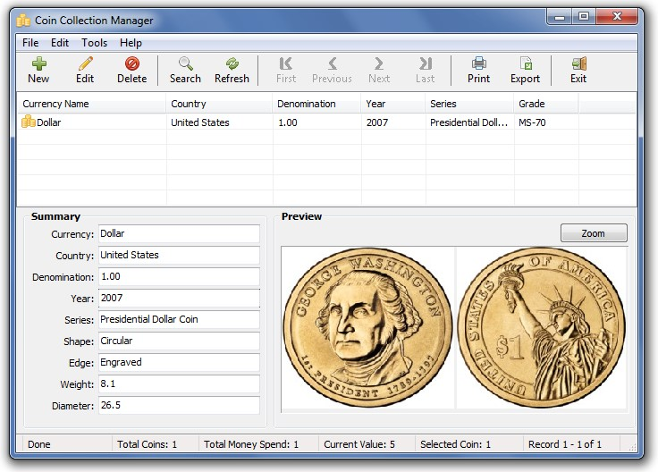 Click to view Coin Collection Manager 1.0 screenshot